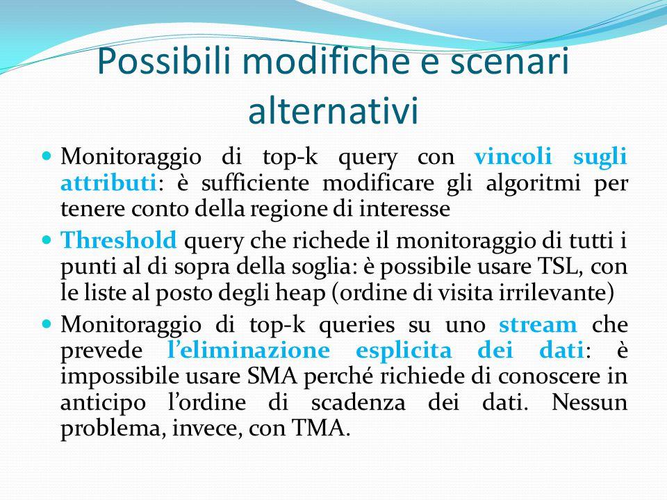 Possibili modifiche e scenari alternativi Monitoraggio di top-k query con vincoli sugli attributi: è sufficiente modificare gli algoritmi per tenere c