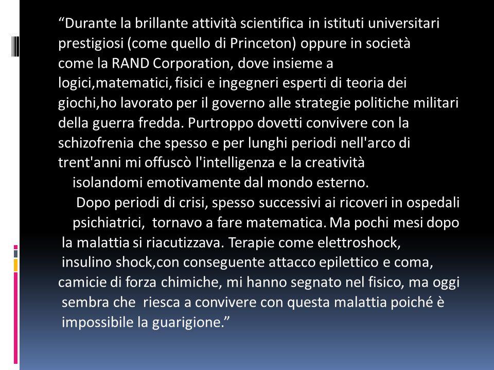 Professor Nasch lei è un matematico ed economista statunitense. Tra i matematici più brillanti e originali del Novecento, ha rivoluzionato l'economia