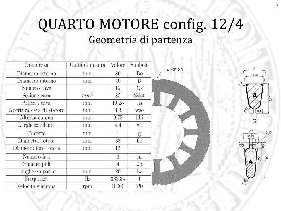 13 QUARTO MOTORE config. 12/4 Geometria di partenza