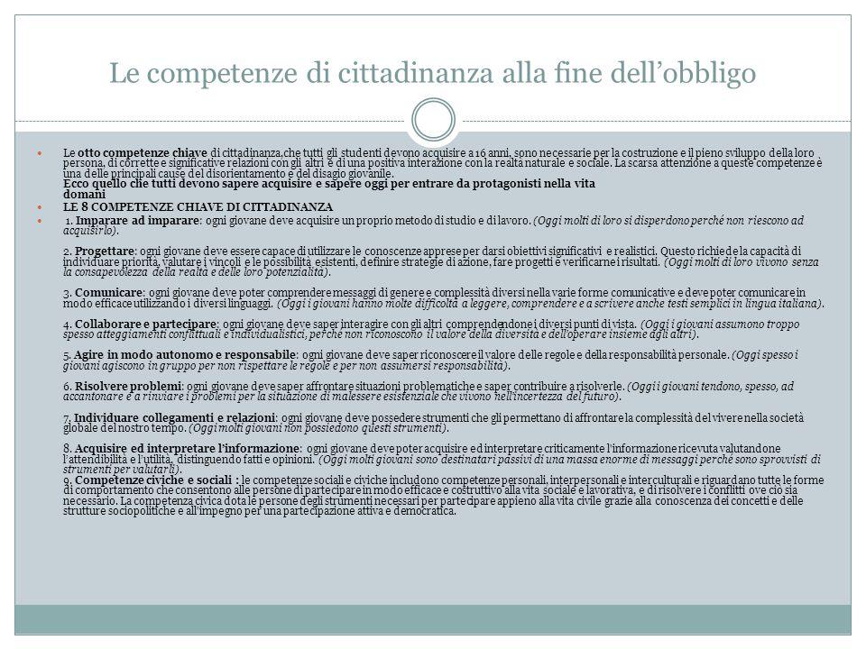 Le competenze di cittadinanza alla fine dell'obbligo Le otto competenze chiave di cittadinanza,che tutti gli studenti devono acquisire a 16 anni, sono
