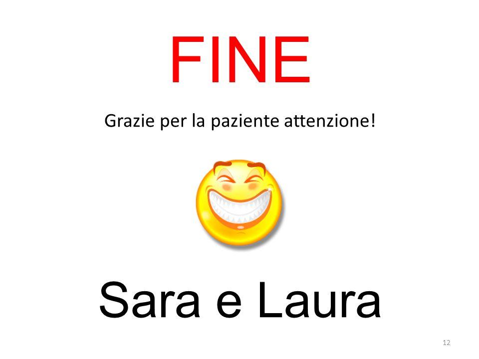 FINE Grazie per la paziente attenzione! Sara e Laura 12