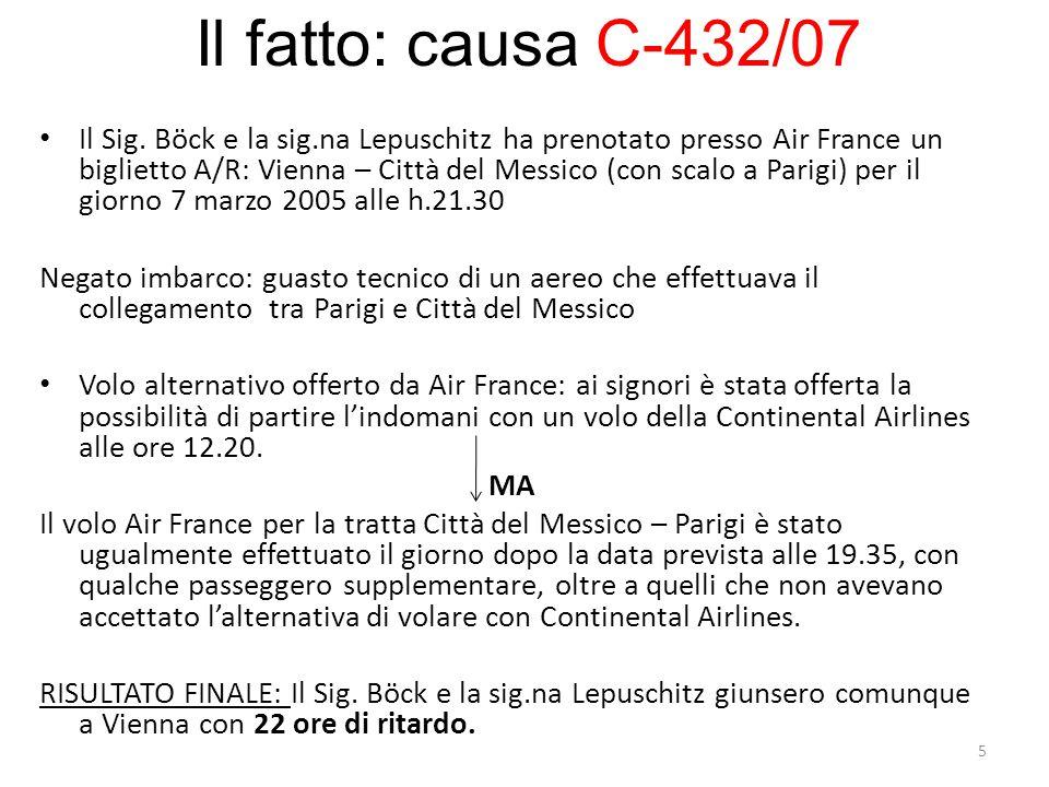 Il Sig.Böck e la sig.na Lepuschitz hanno agito in giudizio contro Air France reclamando una compensazione pecuniaria pari a 600euro a persona ai sensi degli artt.