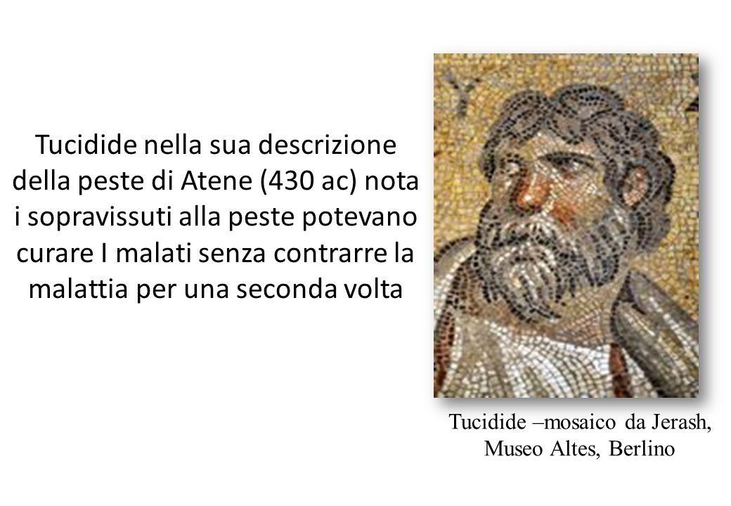 Tucidide nella sua descrizione della peste di Atene (430 ac) nota i sopravissuti alla peste potevano curare I malati senza contrarre la malattia per u