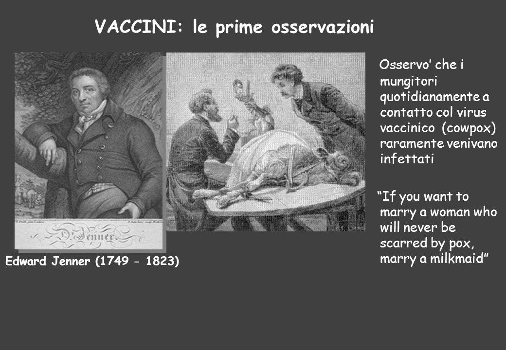 VACCINI: le prime osservazioni Edward Jenner (1749 - 1823) Osservo' che i mungitori quotidianamente a contatto col virus vaccinico (cowpox) raramente