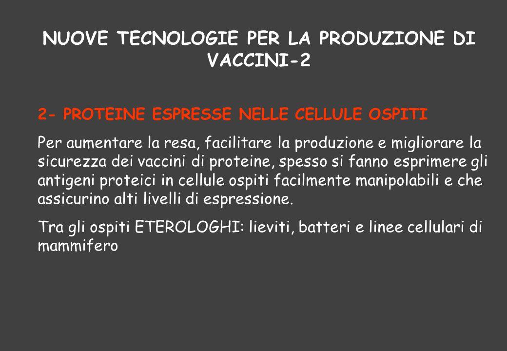 NUOVE TECNOLOGIE PER LA PRODUZIONE DI VACCINI-2 2- PROTEINE ESPRESSE NELLE CELLULE OSPITI Per aumentare la resa, facilitare la produzione e migliorare