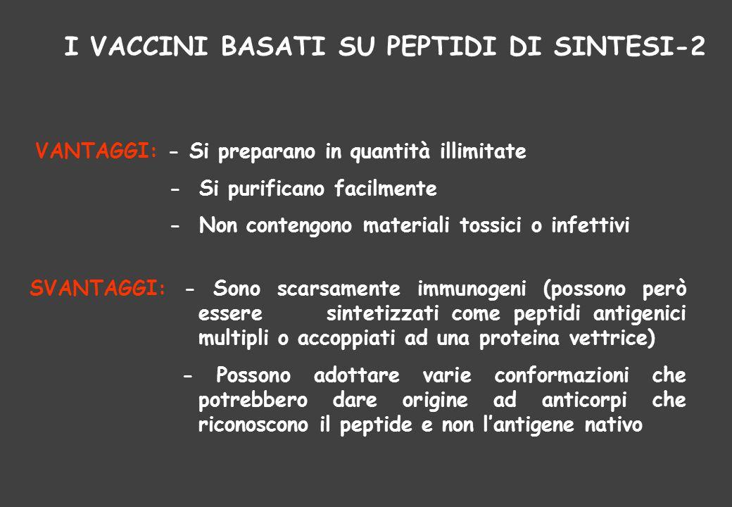 I VACCINI BASATI SU PEPTIDI DI SINTESI-2 VANTAGGI: - Si preparano in quantità illimitate - Si purificano facilmente - Non contengono materiali tossici