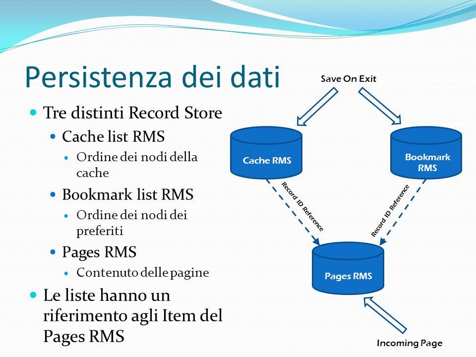 Persistenza dei dati Tre distinti Record Store Cache list RMS Ordine dei nodi della cache Bookmark list RMS Ordine dei nodi dei preferiti Pages RMS Contenuto delle pagine Le liste hanno un riferimento agli Item del Pages RMS Save On Exit Incoming Page Pages RMS Cache RMS Bookmark RMS Record ID Reference