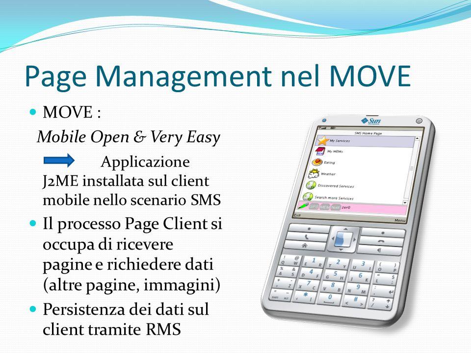 Page Management nel MOVE MOVE : Mobile Open & Very Easy Applicazione J2ME installata sul client mobile nello scenario SMS Il processo Page Client si occupa di ricevere pagine e richiedere dati (altre pagine, immagini) Persistenza dei dati sul client tramite RMS