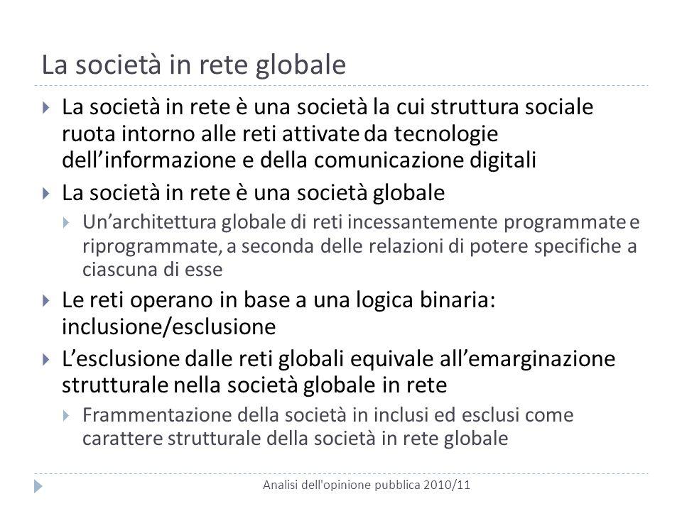 La società in rete globale Analisi dell'opinione pubblica 2010/11  La società in rete è una società la cui struttura sociale ruota intorno alle reti
