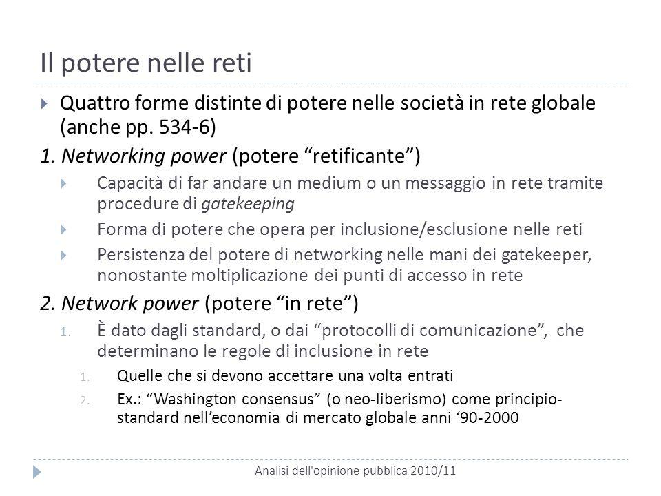 Il potere nelle reti Analisi dell'opinione pubblica 2010/11  Quattro forme distinte di potere nelle società in rete globale (anche pp. 534-6) 1. Netw
