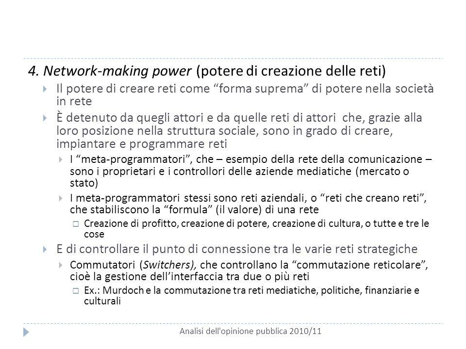 """Analisi dell'opinione pubblica 2010/11 4. Network-making power (potere di creazione delle reti)  Il potere di creare reti come """"forma suprema"""" di pot"""