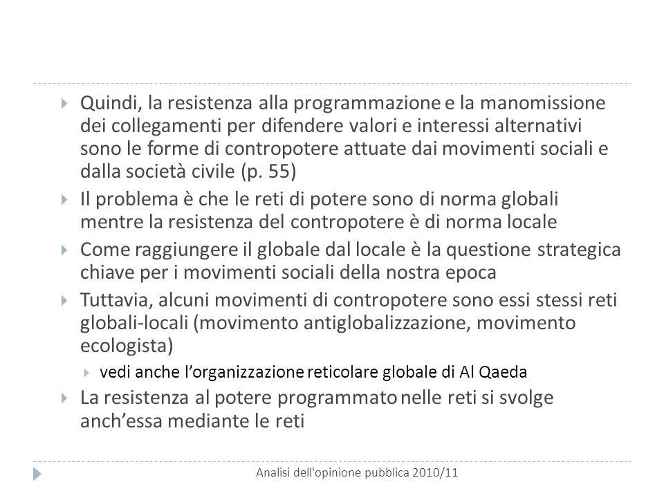 Analisi dell'opinione pubblica 2010/11  Quindi, la resistenza alla programmazione e la manomissione dei collegamenti per difendere valori e interessi