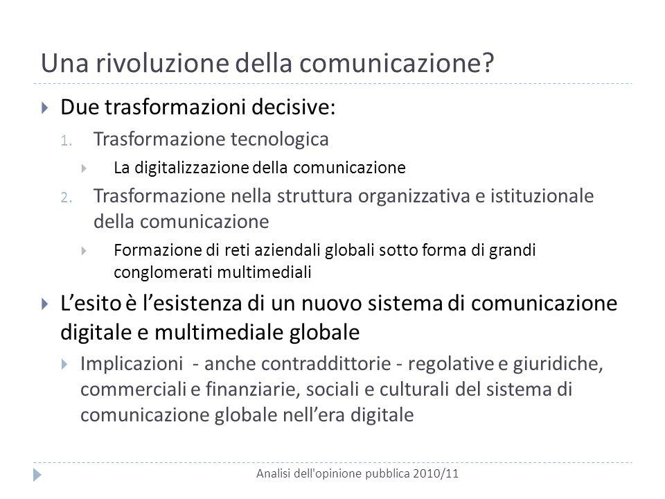 Una rivoluzione della comunicazione? Analisi dell'opinione pubblica 2010/11  Due trasformazioni decisive: 1. Trasformazione tecnologica  La digitali