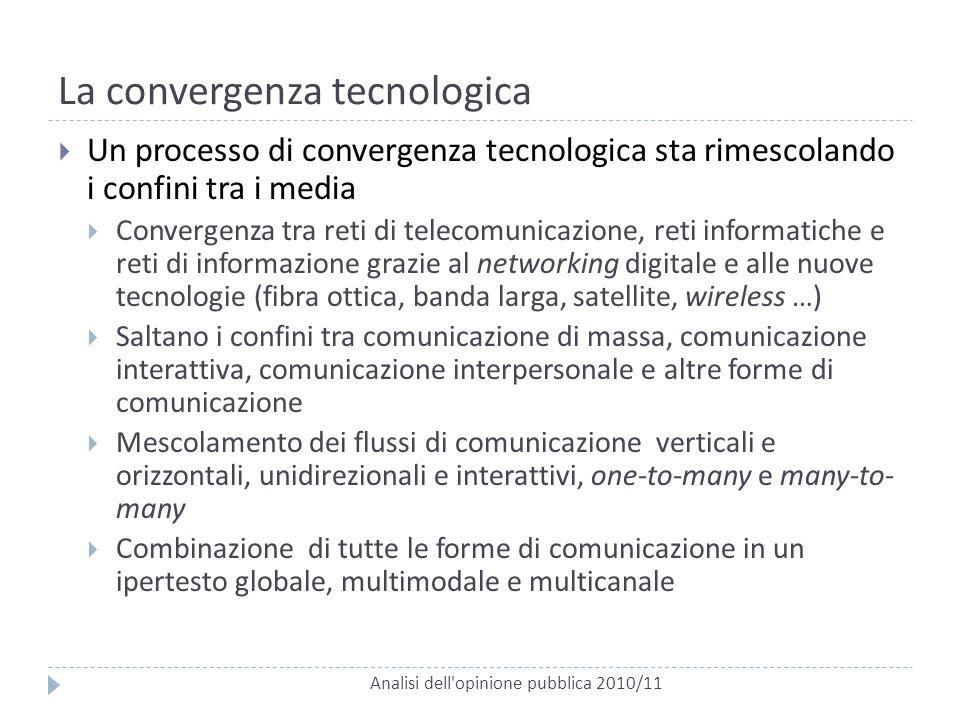 La convergenza tecnologica Analisi dell'opinione pubblica 2010/11  Un processo di convergenza tecnologica sta rimescolando i confini tra i media  Co