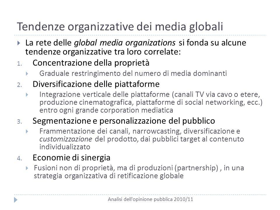Tendenze organizzative dei media globali Analisi dell'opinione pubblica 2010/11  La rete delle global media organizations si fonda su alcune tendenze