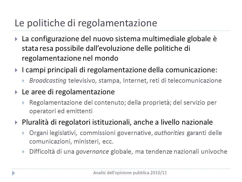 Le politiche di regolamentazione Analisi dell'opinione pubblica 2010/11  La configurazione del nuovo sistema multimediale globale è stata resa possib