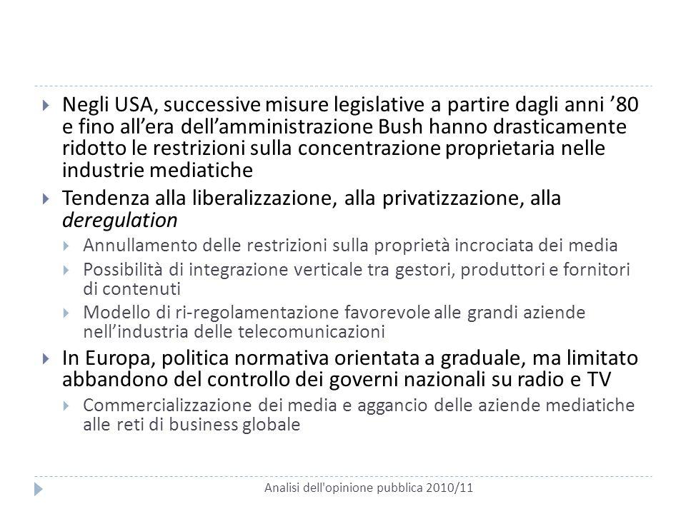 Analisi dell'opinione pubblica 2010/11  Negli USA, successive misure legislative a partire dagli anni '80 e fino all'era dell'amministrazione Bush ha