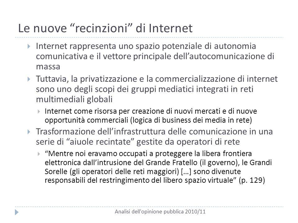 """Le nuove """"recinzioni"""" di Internet Analisi dell'opinione pubblica 2010/11  Internet rappresenta uno spazio potenziale di autonomia comunicativa e il v"""