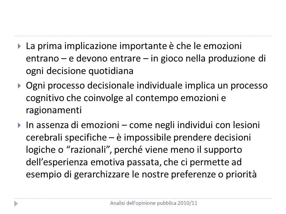 Analisi dell'opinione pubblica 2010/11  La prima implicazione importante è che le emozioni entrano – e devono entrare – in gioco nella produzione di
