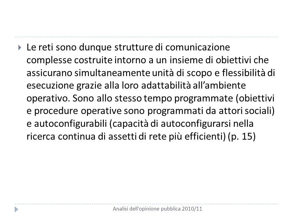 Analisi dell'opinione pubblica 2010/11  Le reti sono dunque strutture di comunicazione complesse costruite intorno a un insieme di obiettivi che assi