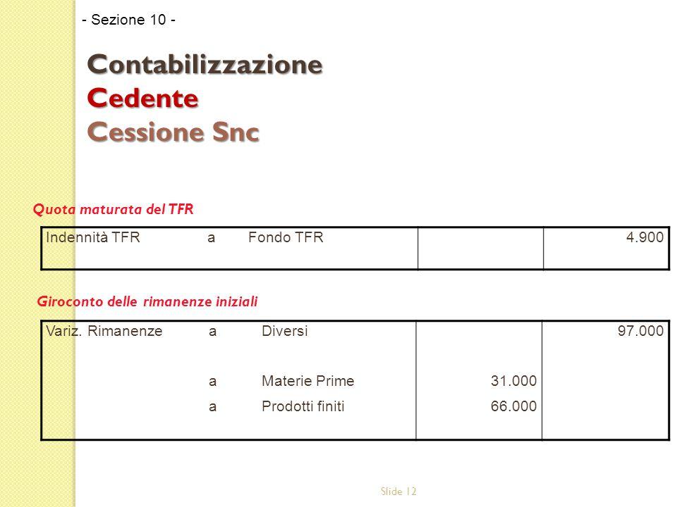 Slide 12 Quota maturata del TFR Giroconto delle rimanenze iniziali - Sezione 10 - Contabilizzazione Cedente Cessione Snc Indennità TFR aFondo TFR4.900 Variz.