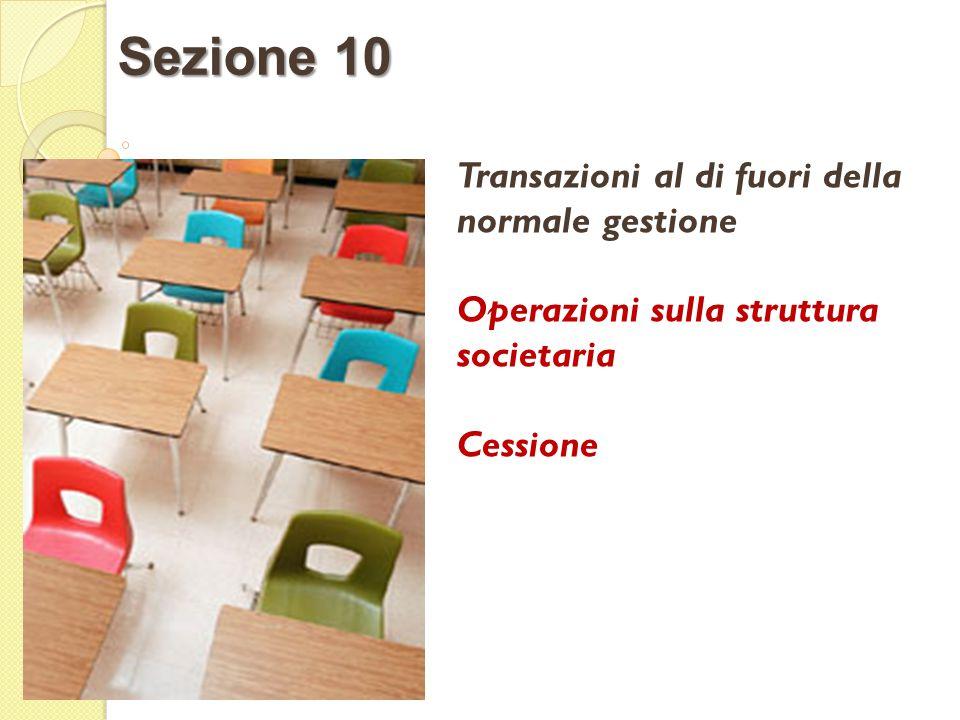 Transazioni al di fuori della normale gestione Operazioni sulla struttura societaria Cessione Sezione 10