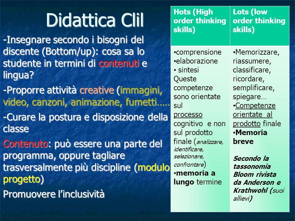 Didattica Clil -Insegnare secondo i bisogni del discente (Bottom/up): cosa sa lo studente in termini di contenuti e lingua.