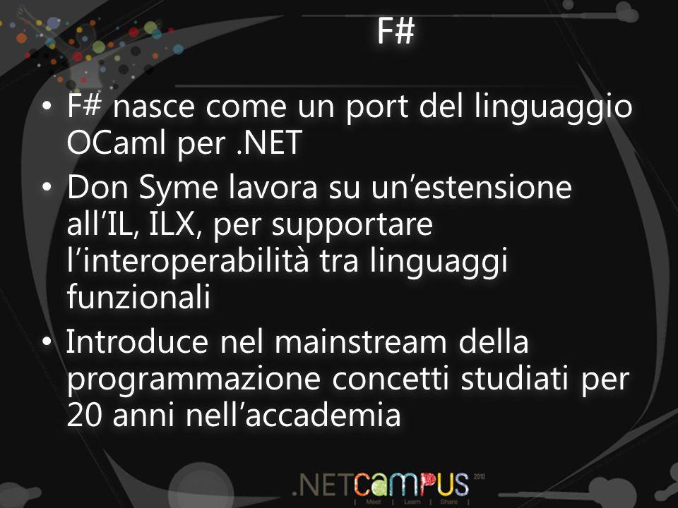 F# F# nasce come un port del linguaggio OCaml per.NET F# nasce come un port del linguaggio OCaml per.NET Don Syme lavora su un'estensione all'IL, ILX, per supportare l'interoperabilità tra linguaggi funzionali Don Syme lavora su un'estensione all'IL, ILX, per supportare l'interoperabilità tra linguaggi funzionali Introduce nel mainstream della programmazione concetti studiati per 20 anni nell'accademia Introduce nel mainstream della programmazione concetti studiati per 20 anni nell'accademia