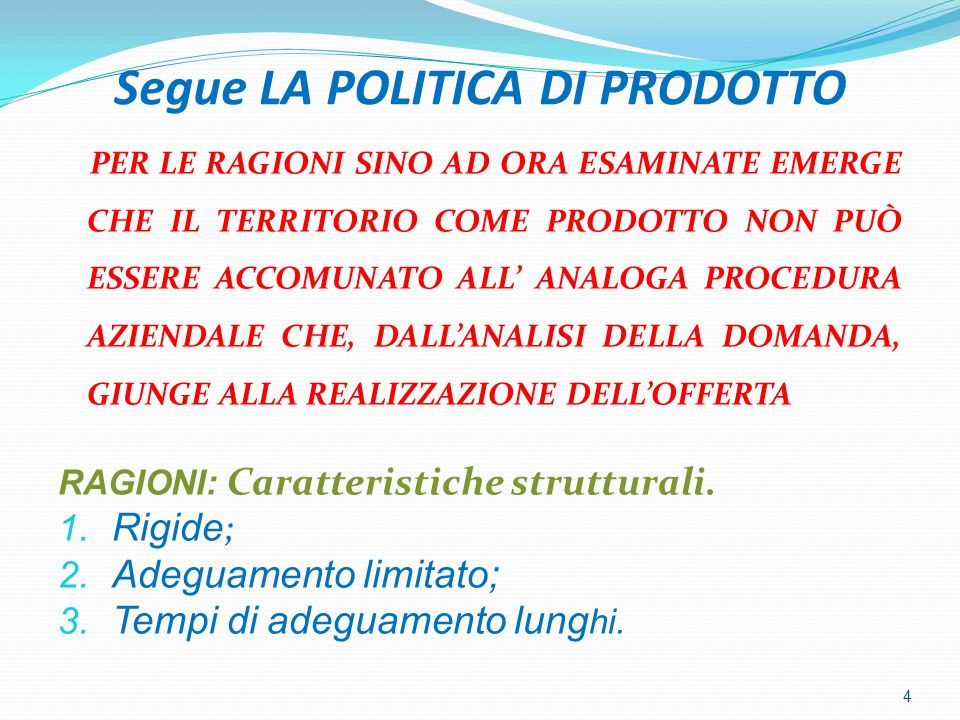 FATTIBILITA'/COMPLESSITA' DEGLI INTERVENTI SUL PRODOTTO TERRITORIO 5