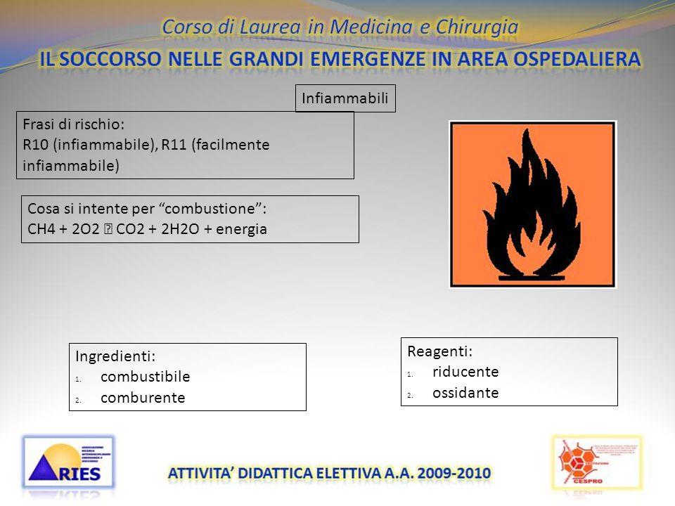"""20/11/09 Infiammabili Frasi di rischio: R10 (infiammabile), R11 (facilmente infiammabile) Cosa si intente per """"combustione"""": CH4 + 2O2  CO2 + 2H2O +"""