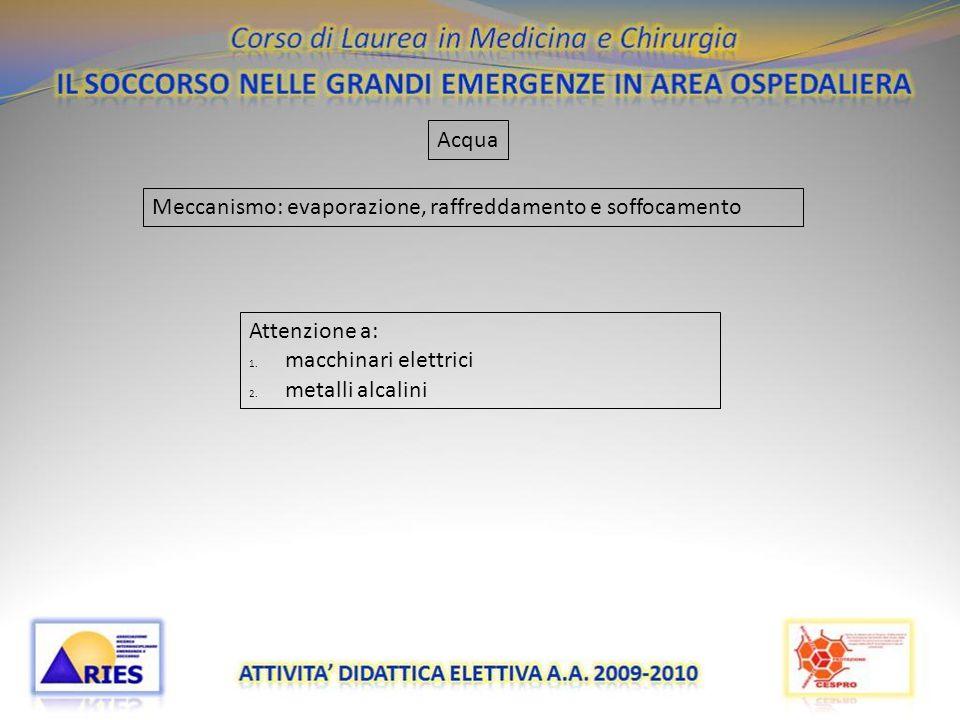 20/11/09 Acqua Meccanismo: evaporazione, raffreddamento e soffocamento Attenzione a: 1. macchinari elettrici 2. metalli alcalini