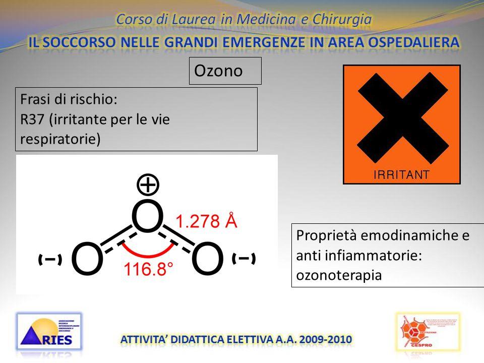 20/11/09 Ozono Frasi di rischio: R37 (irritante per le vie respiratorie) Proprietà emodinamiche e anti infiammatorie: ozonoterapia
