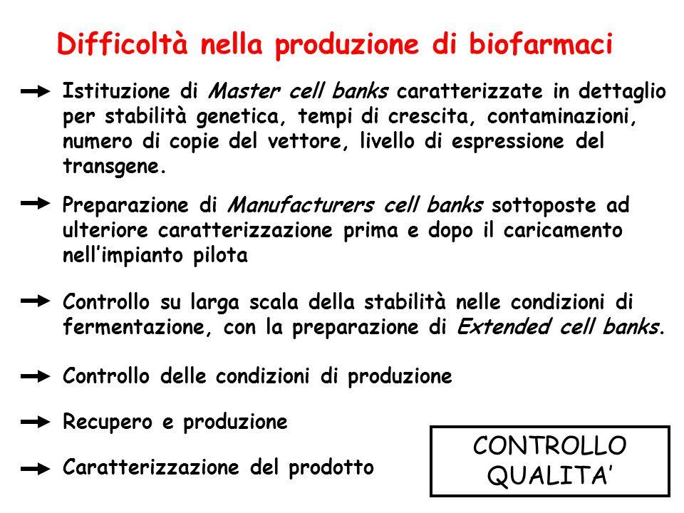 Difficoltà nella produzione di biofarmaci Istituzione di Master cell banks caratterizzate in dettaglio per stabilità genetica, tempi di crescita, cont