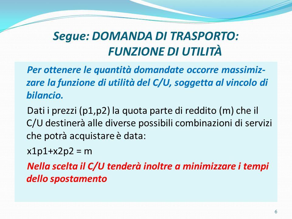 Segue: DOMANDA DI TRASPORTO: FUNZIONE DI UTILITÀ Per ottenere le quantità domandate occorre massimiz- zare la funzione di utilità del C/U, soggetta al