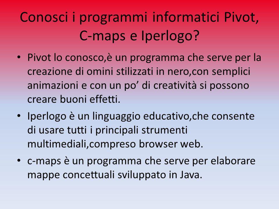 Conosci i programmi informatici Pivot, C-maps e Iperlogo? Pivot lo conosco,è un programma che serve per la creazione di omini stilizzati in nero,con s