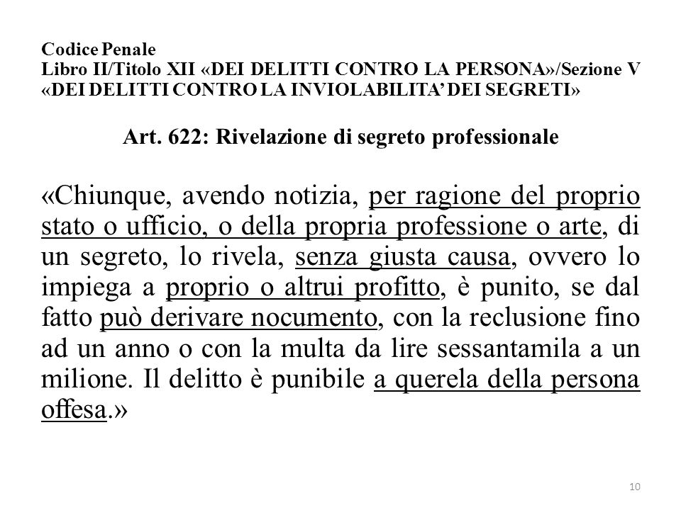 Codice Penale Libro II/Titolo XII «DEI DELITTI CONTRO LA PERSONA»/Sezione V «DEI DELITTI CONTRO LA INVIOLABILITA' DEI SEGRETI» Art. 622: Rivelazione d