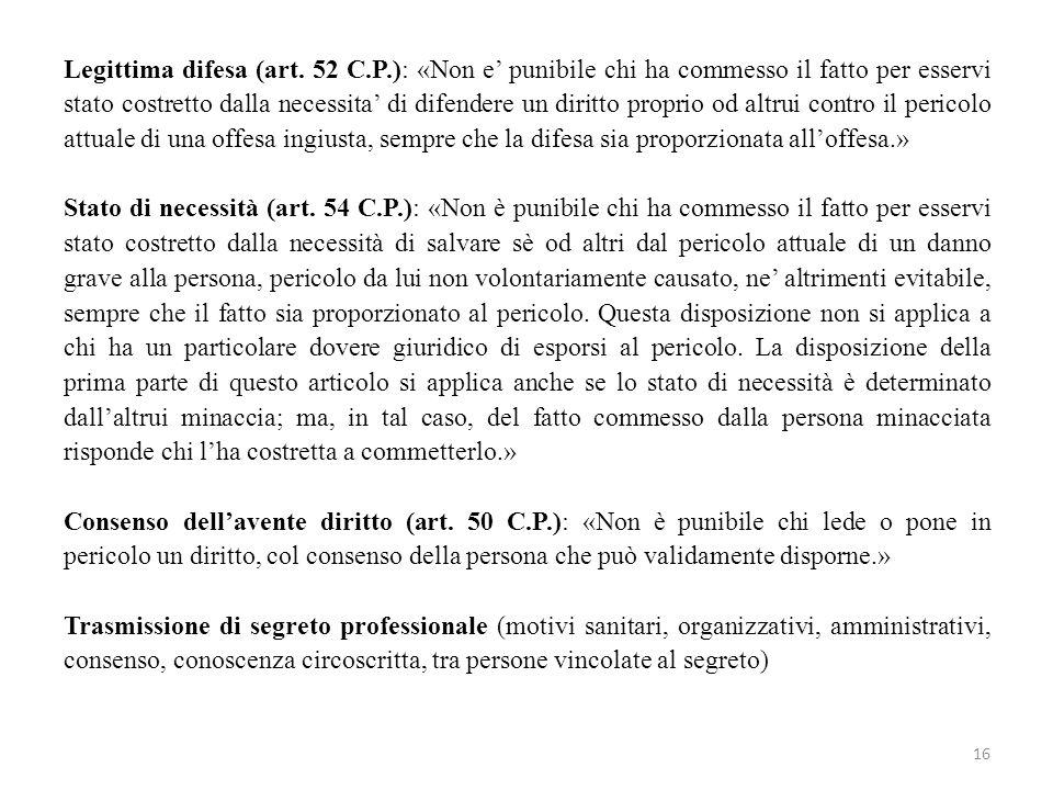 Legittima difesa (art. 52 C.P.): «Non e' punibile chi ha commesso il fatto per esservi stato costretto dalla necessita' di difendere un diritto propri