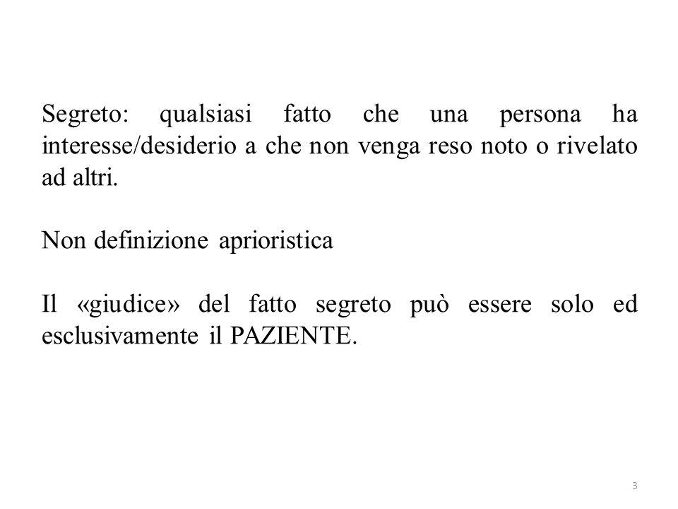 Segreto: qualsiasi fatto che una persona ha interesse/desiderio a che non venga reso noto o rivelato ad altri.
