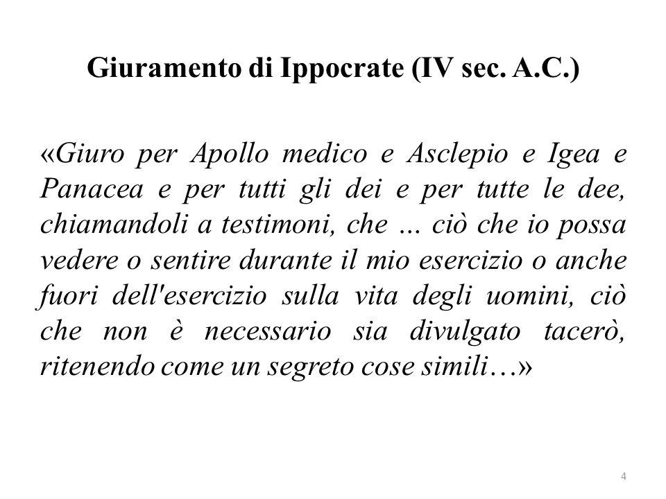 Giuramento di Ippocrate (IV sec. A.C.) «Giuro per Apollo medico e Asclepio e Igea e Panacea e per tutti gli dei e per tutte le dee, chiamandoli a test