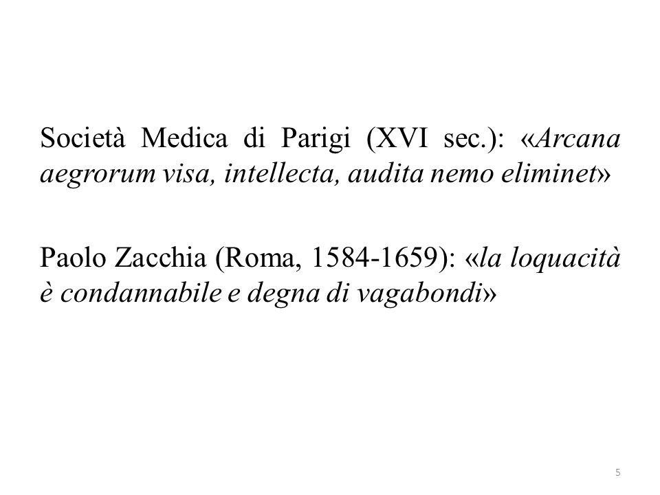 Società Medica di Parigi (XVI sec.): «Arcana aegrorum visa, intellecta, audita nemo eliminet» Paolo Zacchia (Roma, 1584-1659): «la loquacità è condann