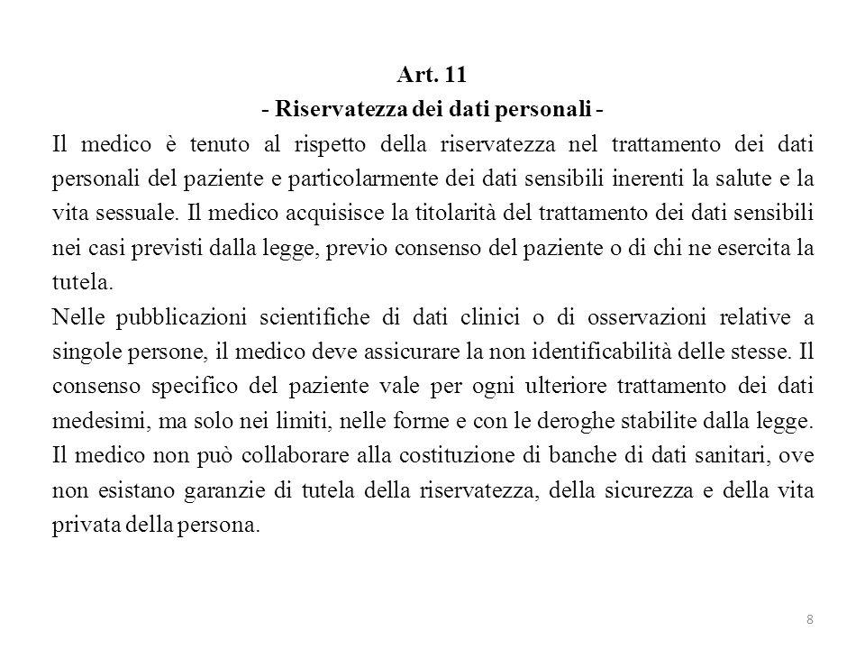 Art. 11 - Riservatezza dei dati personali - Il medico è tenuto al rispetto della riservatezza nel trattamento dei dati personali del paziente e partic