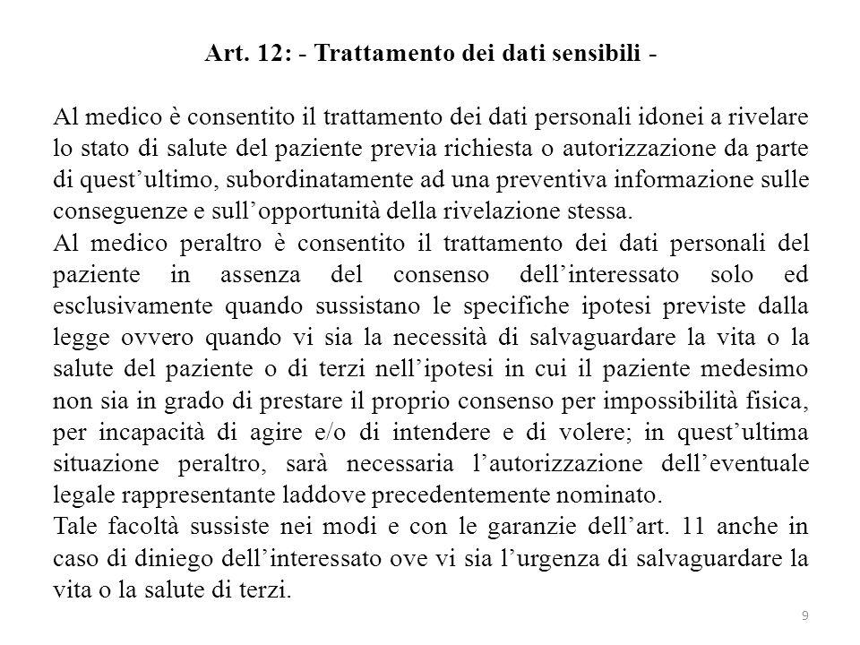 Art. 12: - Trattamento dei dati sensibili - Al medico è consentito il trattamento dei dati personali idonei a rivelare lo stato di salute del paziente