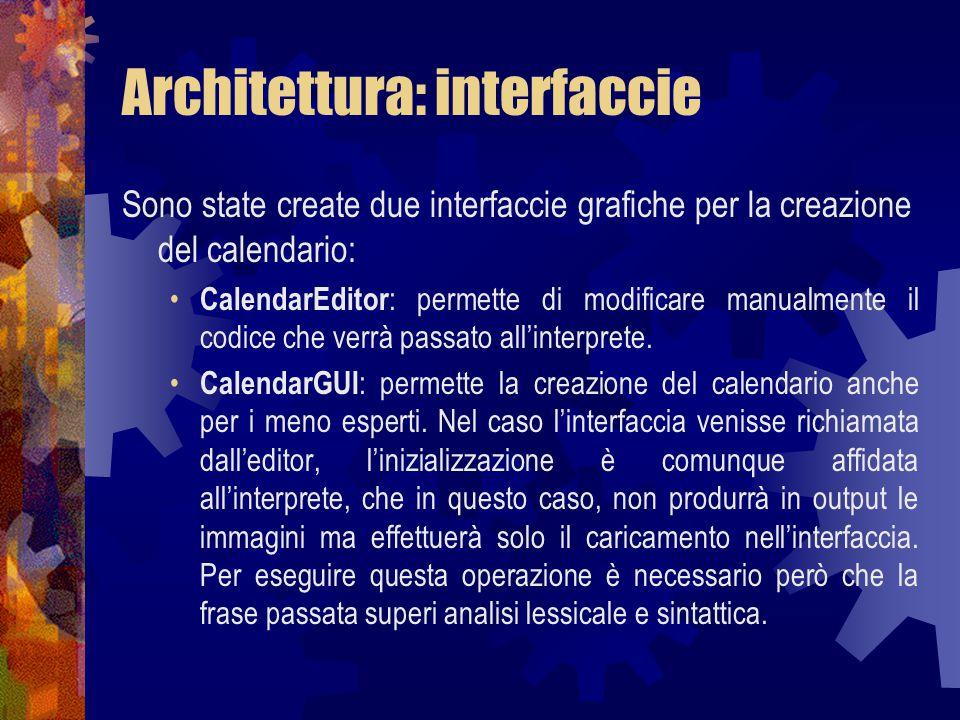 Architettura: interfaccie Sono state create due interfaccie grafiche per la creazione del calendario: CalendarEditor : permette di modificare manualmente il codice che verrà passato all'interprete.