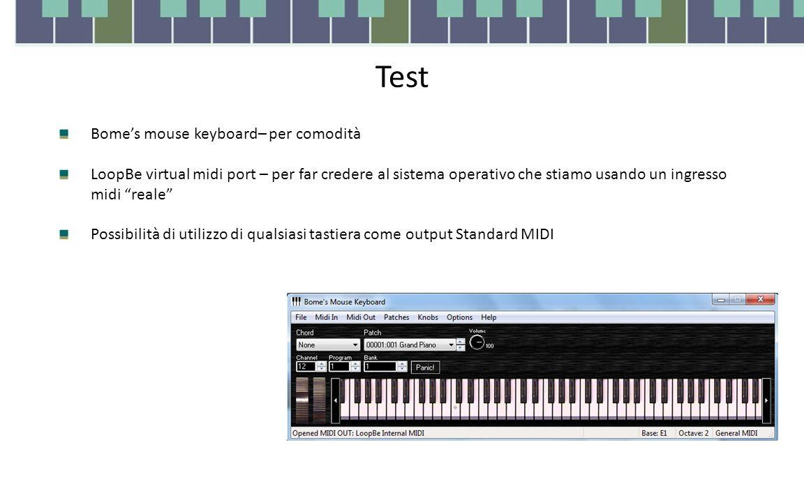 Test Bome's mouse keyboard– per comodità LoopBe virtual midi port – per far credere al sistema operativo che stiamo usando un ingresso midi reale Possibilità di utilizzo di qualsiasi tastiera come output Standard MIDI