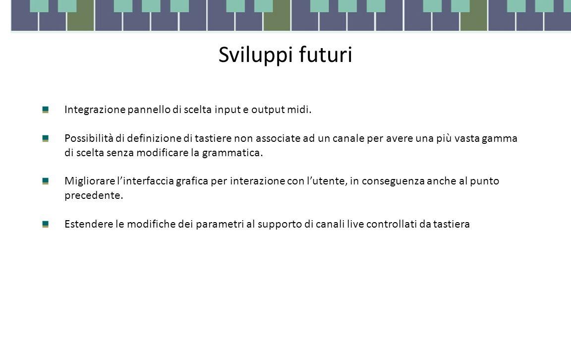 Sviluppi futuri Integrazione pannello di scelta input e output midi. Possibilità di definizione di tastiere non associate ad un canale per avere una p
