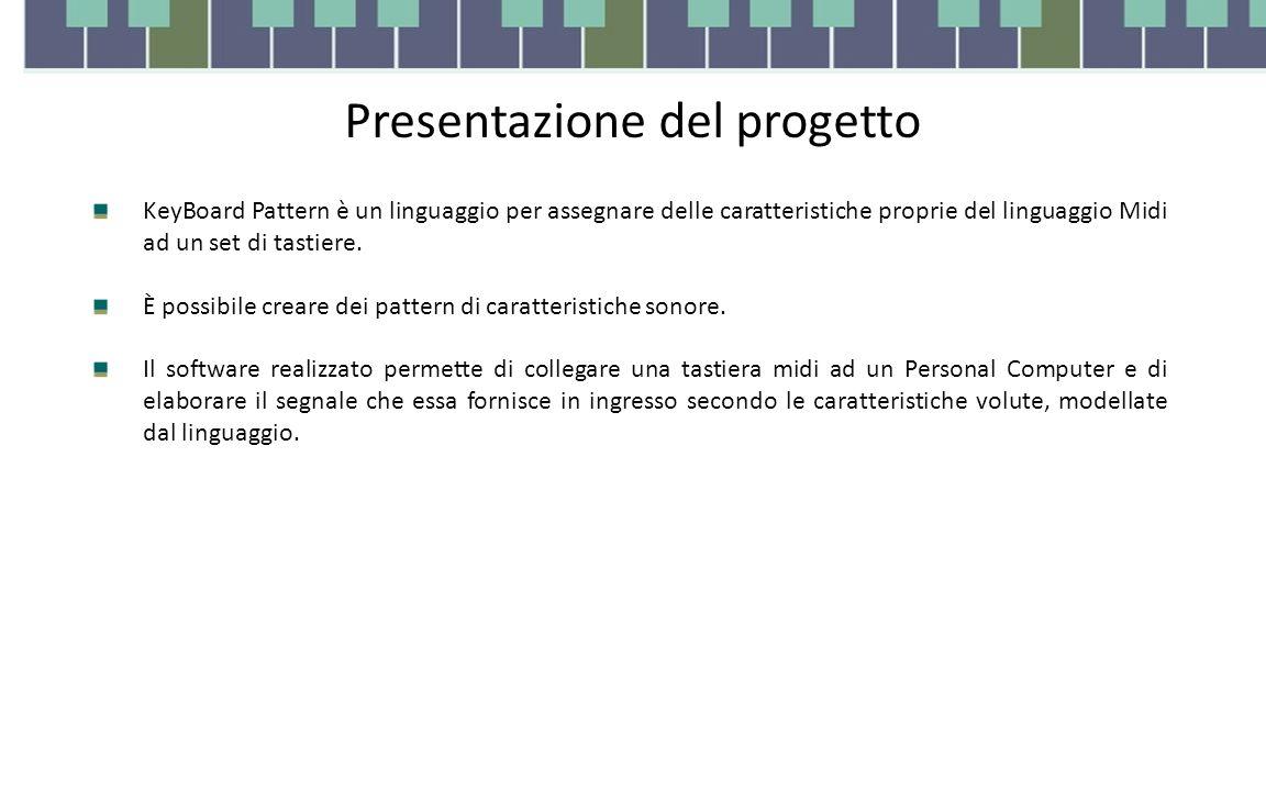 Presentazione del progetto KeyBoard Pattern è un linguaggio per assegnare delle caratteristiche proprie del linguaggio Midi ad un set di tastiere.
