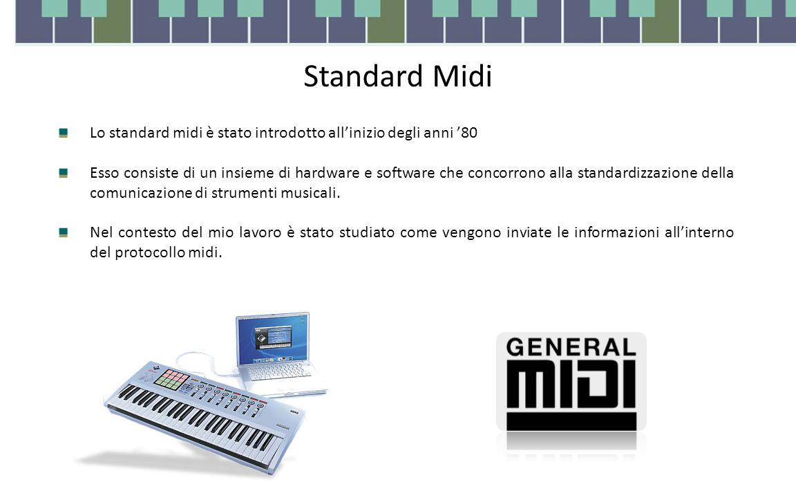 Standard Midi Lo standard midi è stato introdotto all'inizio degli anni '80 Esso consiste di un insieme di hardware e software che concorrono alla standardizzazione della comunicazione di strumenti musicali.