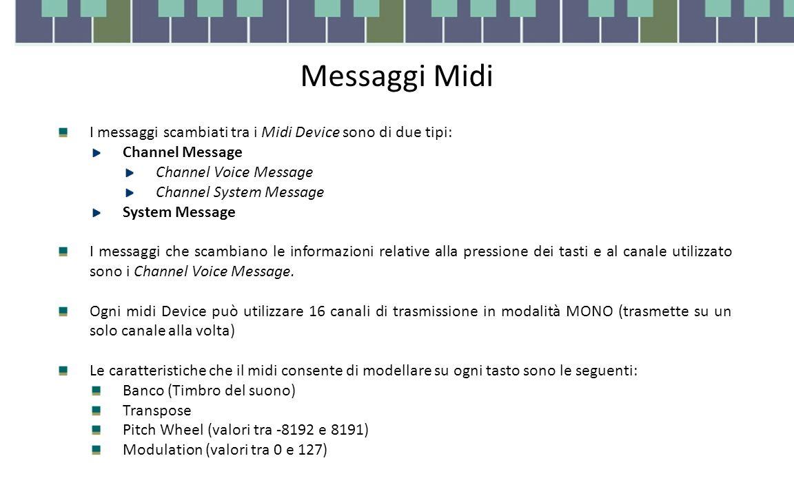 Messaggi Midi I messaggi scambiati tra i Midi Device sono di due tipi: Channel Message Channel Voice Message Channel System Message System Message I messaggi che scambiano le informazioni relative alla pressione dei tasti e al canale utilizzato sono i Channel Voice Message.