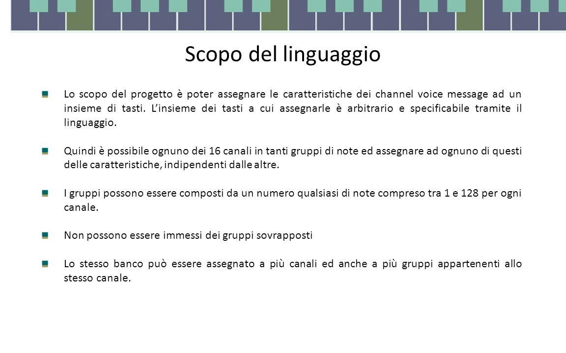Scopo del linguaggio Lo scopo del progetto è poter assegnare le caratteristiche dei channel voice message ad un insieme di tasti. L'insieme dei tasti