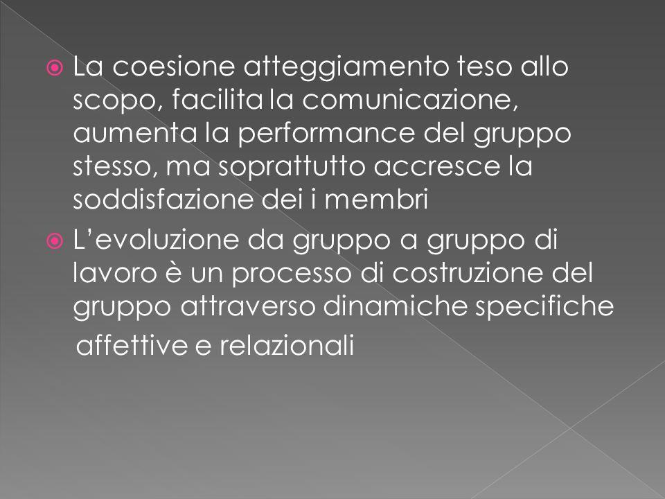  La coesione atteggiamento teso allo scopo, facilita la comunicazione, aumenta la performance del gruppo stesso, ma soprattutto accresce la soddisfazione dei i membri  L'evoluzione da gruppo a gruppo di lavoro è un processo di costruzione del gruppo attraverso dinamiche specifiche affettive e relazionali
